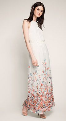 esprit / fließendes print maxikleid aus georgette mit bildern  kleider modestil mode