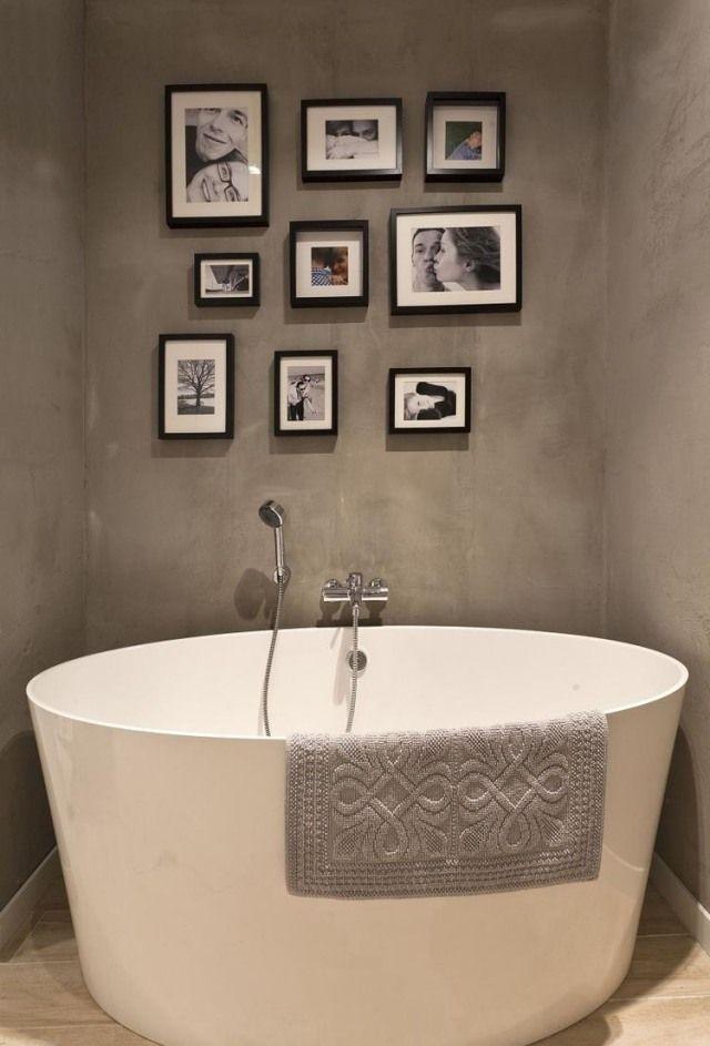 Badezimmer Modern Ovale Badewanne Graue Wandfarbe Deko Fotowand ... Deko Bei Grauen Badezimme