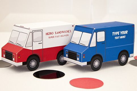 DELIVERY TRUCK Favor Box - DIY Printable PDF from Piggy Bank Parties