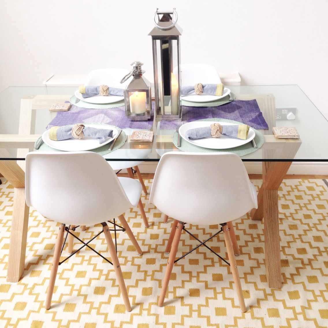 Scandinavian Style Dining Area John Lewis Oak And Glass Dining Table White Eames Chairs The