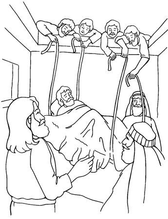 Free Coloring Bible Pictureof Jesus Healing The Paralized Man Jesus Heals The Paralytic Co Sunday School Coloring Pages Bible Coloring Pages Bible Coloring