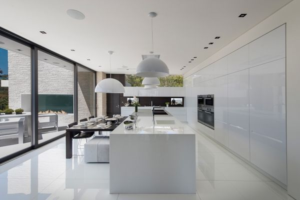 Ultra Modern White Kitchen Design Laurel Way Breakfast Area