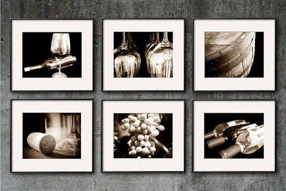 Wine photography sepia wine print set wine art set of 6 prints