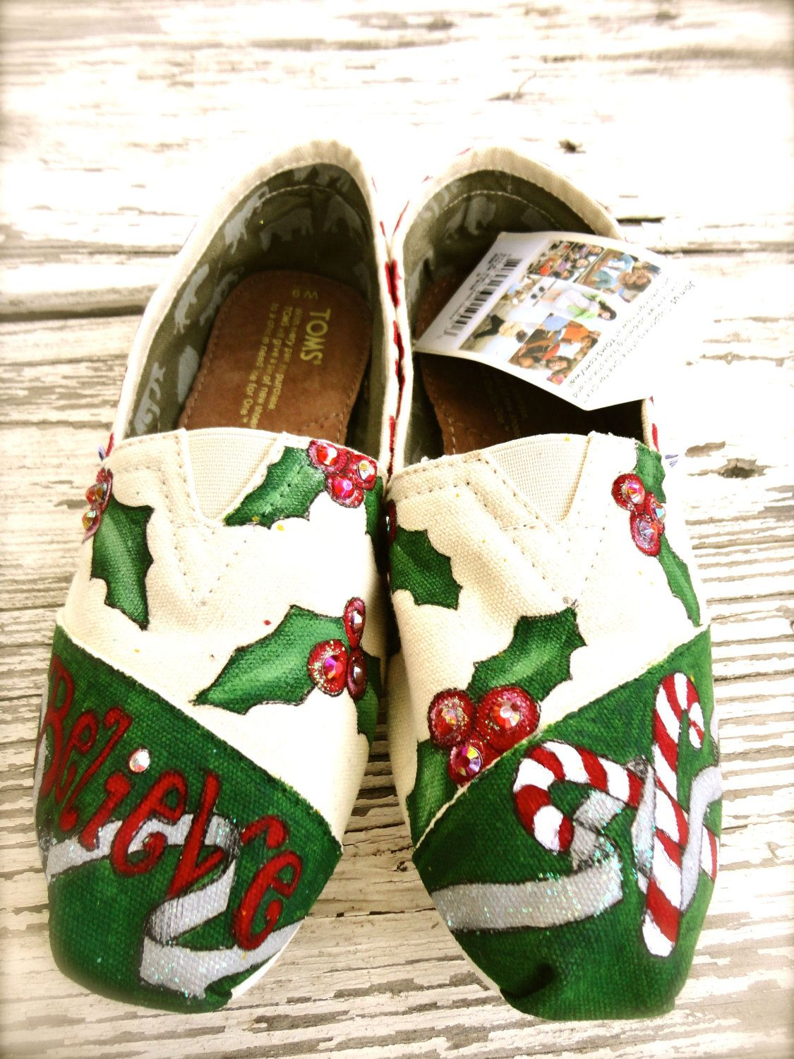 custom painted toms shoes christmas and holly 5500 via etsy