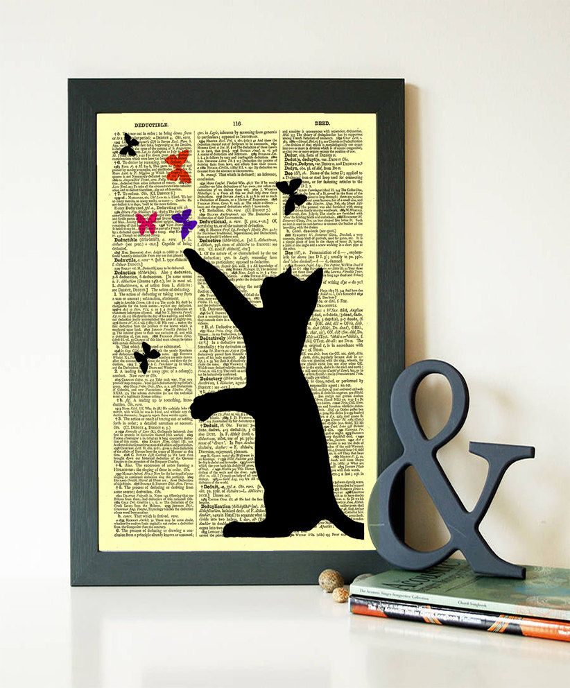 Cat Silhouette Print Black Cat Poster Cat Playing Print Dictionary ...