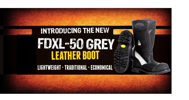FDXL-50 Grey Leather Boot - Fire-Dex