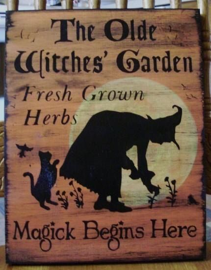 Witches Garden Sign Herbs Witchcraft Apothecary Fairy Cats Pixies Herbal Hippie magic gardening