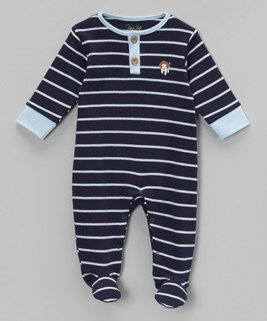 Love this Navy & Blue Stripe Puppy Footie by René Rofé Baby on #zulily! #zulilyfinds