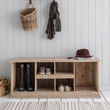 Meuble à chaussures en bois naturel 6 compartiments Chedworth | DECOCLICO