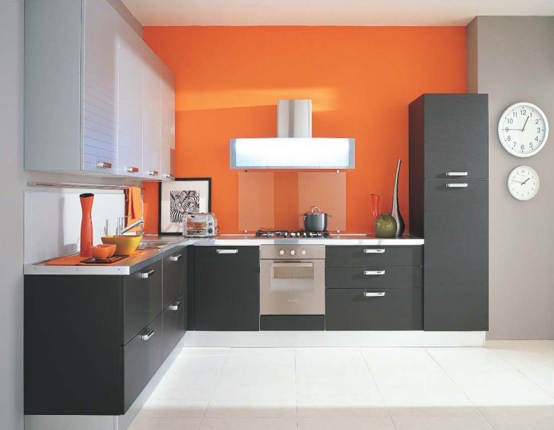 Modern Style Kitchen Design With Orange Stained Wall Also Black Wooden Cabinet White Marble Countertop Plus Laminated
