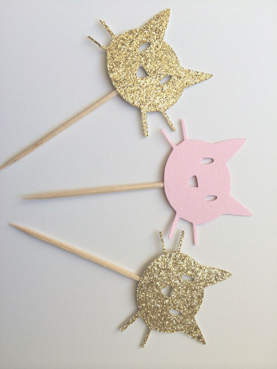 6 Gold & Pink Kitty Cat Cupcake Toppers. Kitty Cat Party. Cupcake Decor. Gold Glitter Cats.