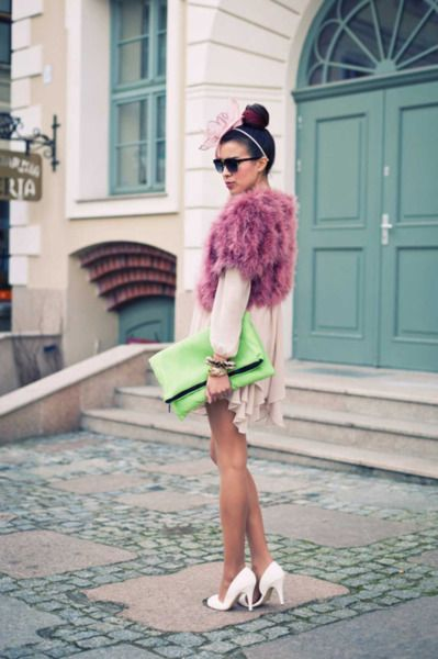 Funky feather bolero and neon acessories