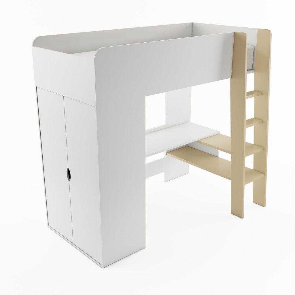 Photo of ARTE Tom TM-01 Bunk Bed with Computer Desk and Wardrobe – White Matt