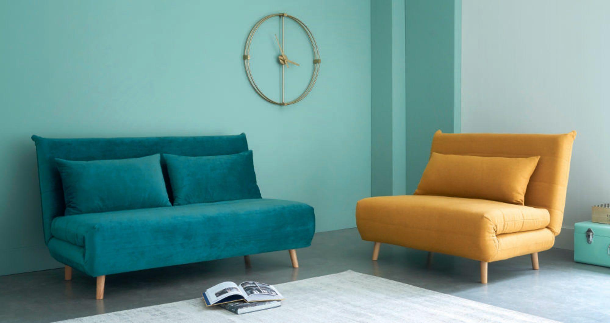 Ausklappbare 2 Sitzer Bettbank Aus Samt Petrolblau Nio Maisons Du Monde Bettbank Sofa Bett Kleines Gastezimmer