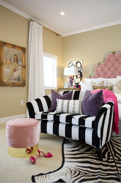 Glam Master Bedroom Black And White Striped Sofa With Images