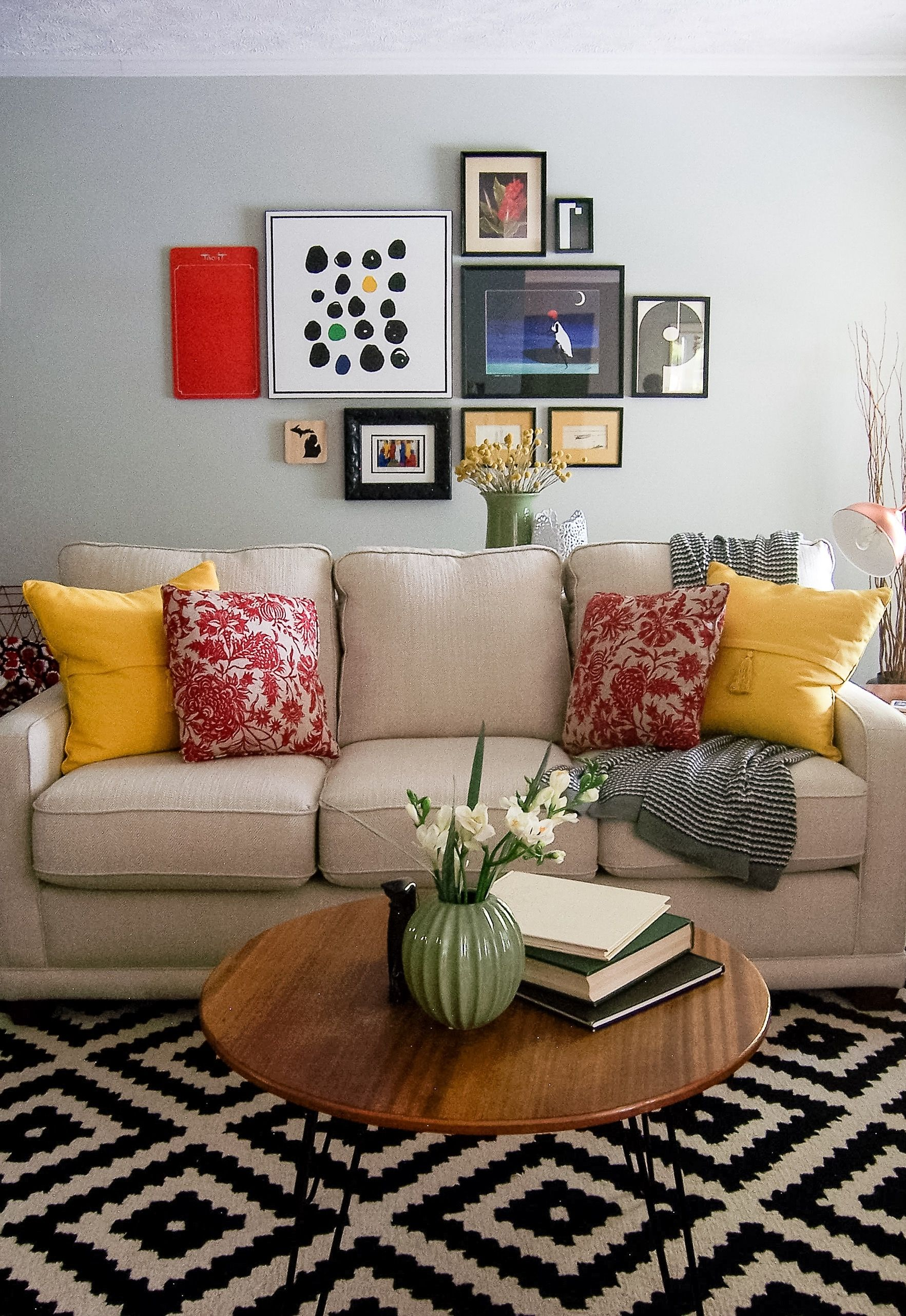 mid century modern inspired colorful and eclectic living