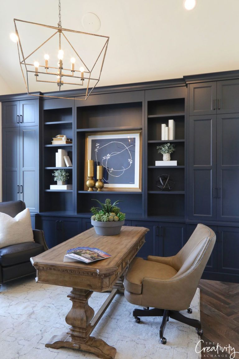 Deep rich blue painted cabinetry office decor nook spaces home also reveal my man pinterest design rh