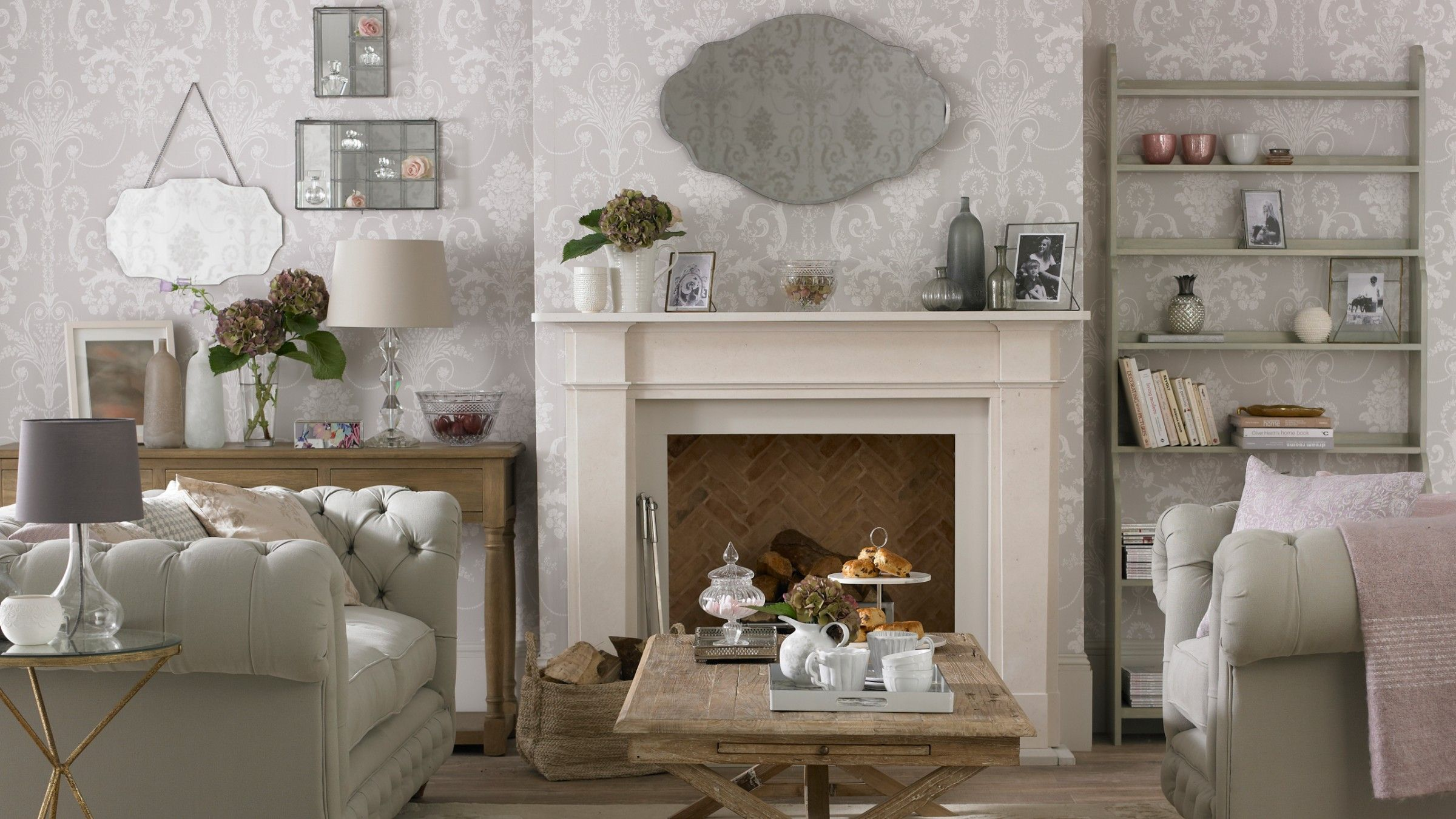 Elegant Traditional Living Room With Grey And White Damask