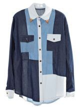 Color Matching Long-sleeved Denim Shirt $39