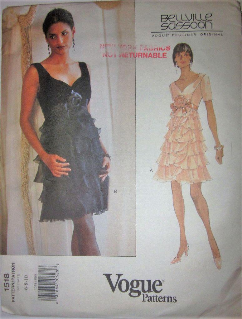 Vogue Designer Original 1518 Bellville Sasson Womens 90s Tiered ...