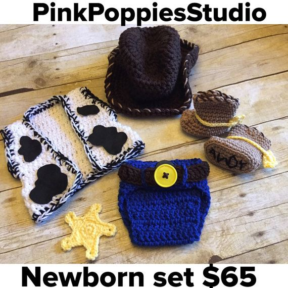 Crochet el traje de vaquero bebé traje por PinkPoppiesStudio ...