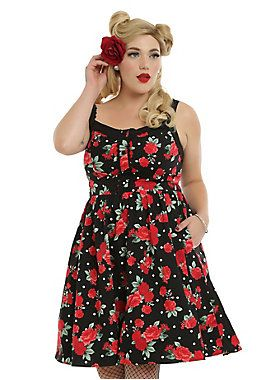 """<p>You'll look like you should be hanging out in a garden all day when you wear this fit and flare swing dress with red and green roses and white polka dot print. The sweetheart neckline has contrasting black trim and adjustable straps accented with crocheted skull lace and four black faux buttons. The black tulle underlay peeks out from beneath the hem just like leaves, and pockets give you a place to keep your red lipstick. Back zipper closure. </p> <ul> <li style=""""LIST-STYLE-"""