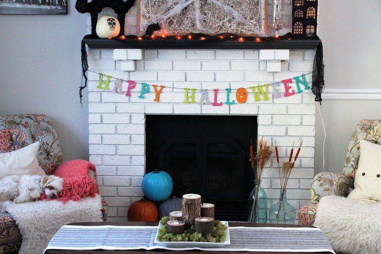 Colorful Halloween Mantle Decor Halloween Decorating Pinterest