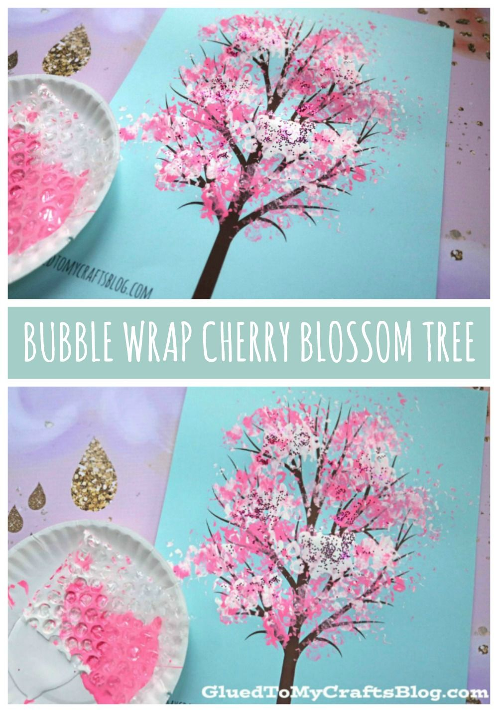 Bubble Wrap Print Cherry Blossom Tree Kid Craft Idea For Spring Spring Crafts For Kids Spring Tree Art Spring Arts And Crafts
