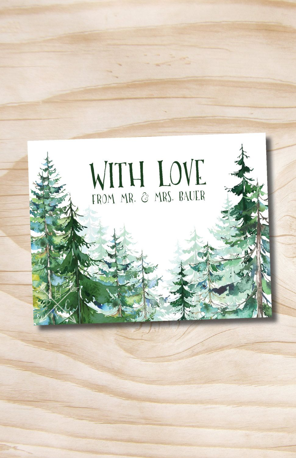 Watercolor Pine Tree Wedding Thank You Card Acknowledgment card Invitation Suite