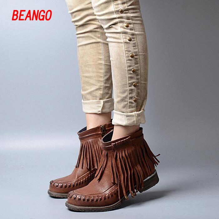 99.10$  Buy here - http://aitt6.worlditems.win/all/product.php?id=32801116516 - BEANGO Women Ankle Boots Sheepskin Leather Fringe Tassel Women Boots Shoes Winter Flat Boots Do Old Brush Off Winter Botas