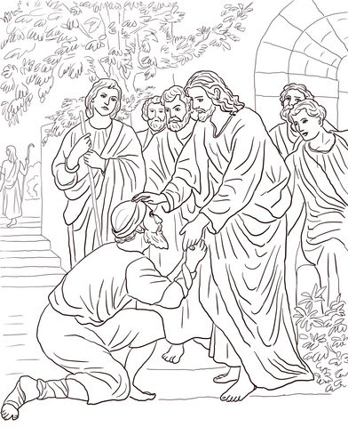Jesus Heals The Leper Coloring Page Christian Bible Coloring