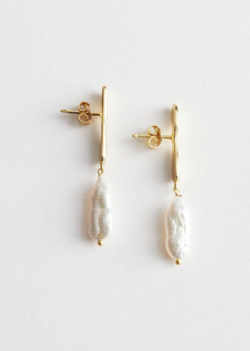 Mini pearl drop earrings Gold heart stud earrings