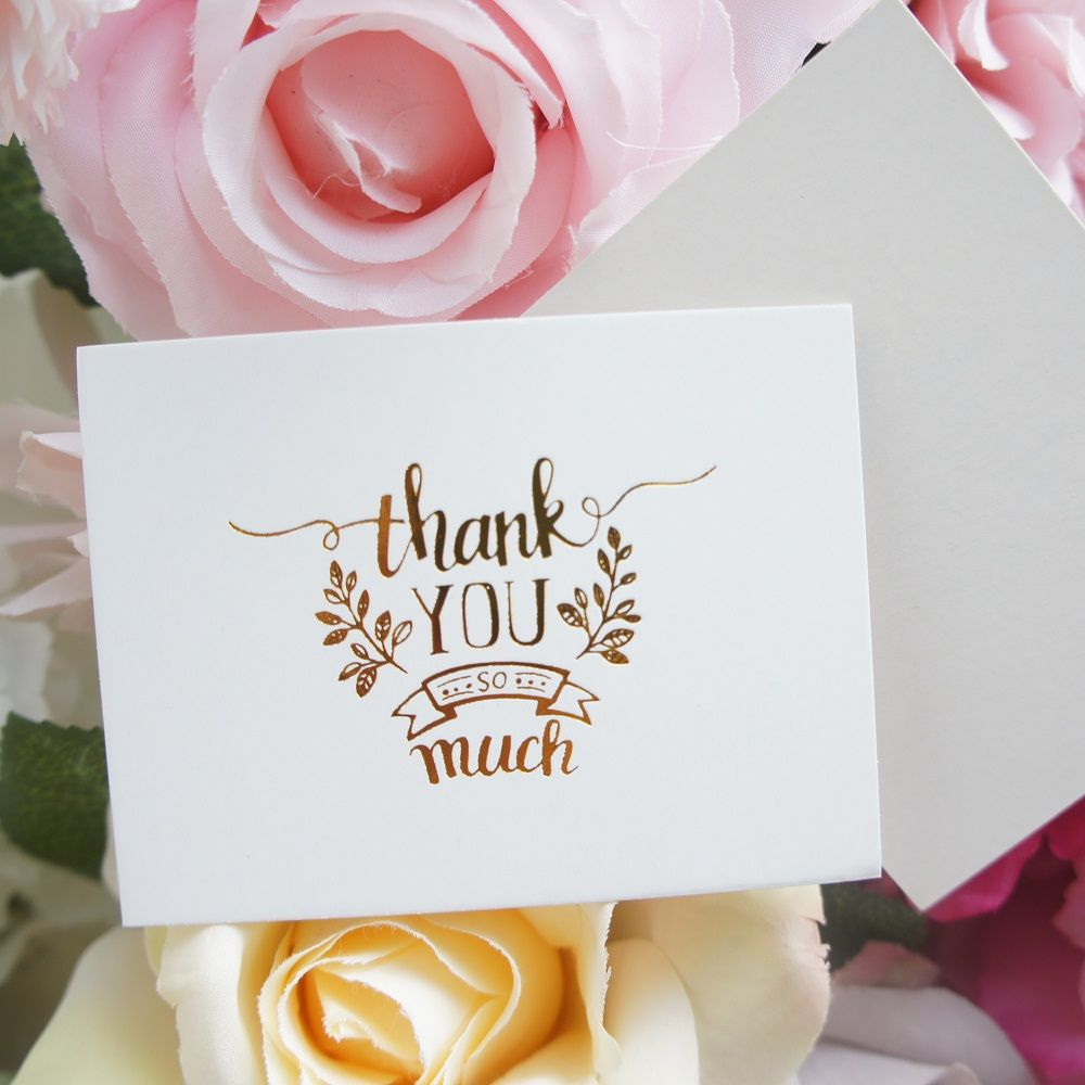 50pcs Mini Thank You Card Gold Simple Fashion Design Leave Message Cards  Lucky Love Valentine Christmas