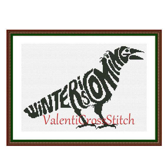 Game of thrones Cross Stitch Pattern, Winter is coming, Cross Stitch ...