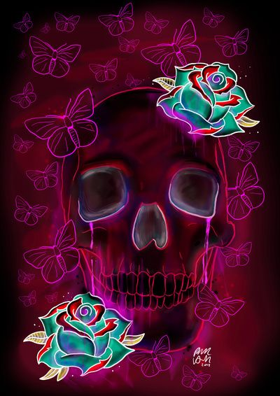 Skull And Roses By Phil Wall Art Skulls Girls Skull