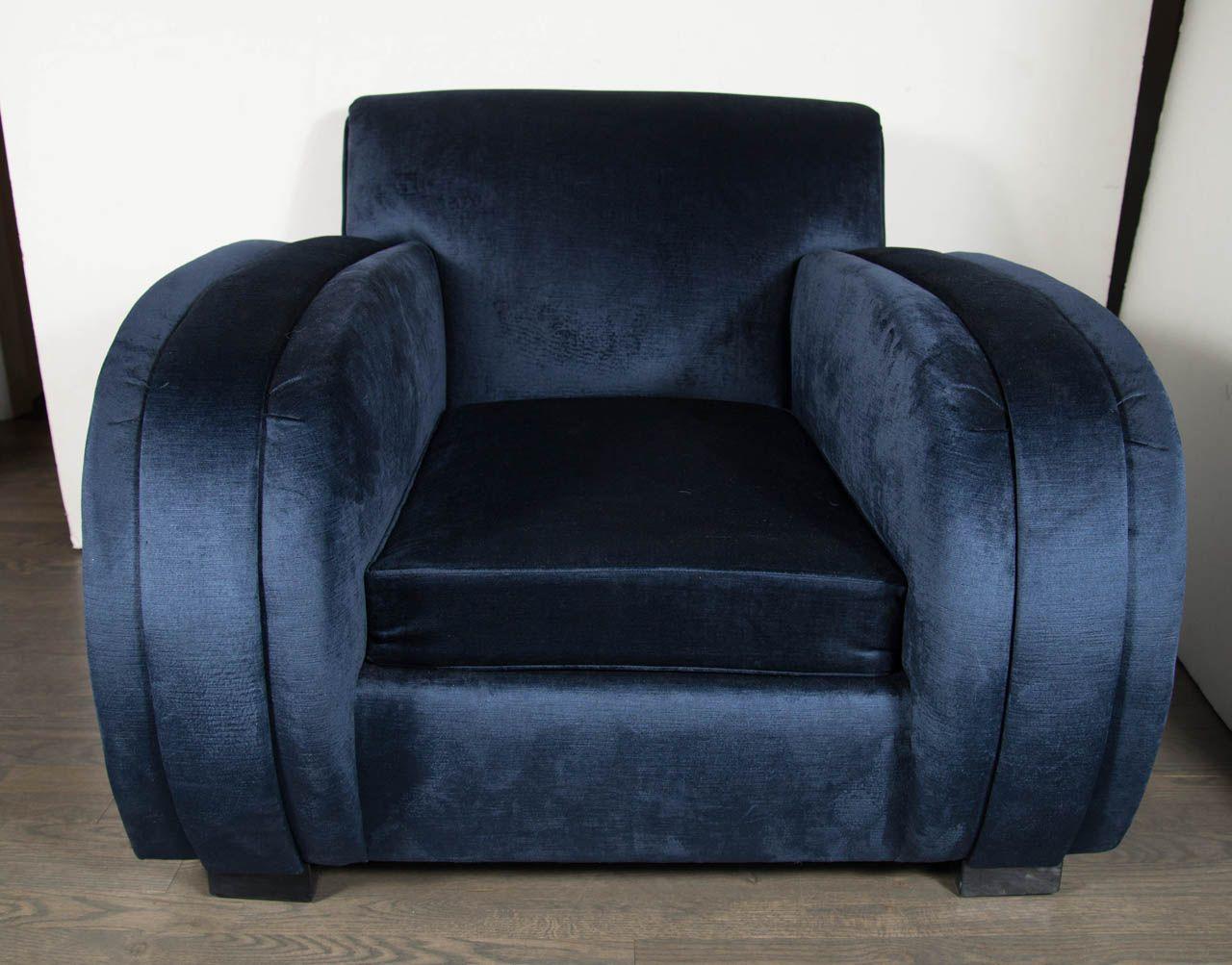 Sedie Deco ~ Art deco streamlined club chair in sapphire blue velvet upholstery