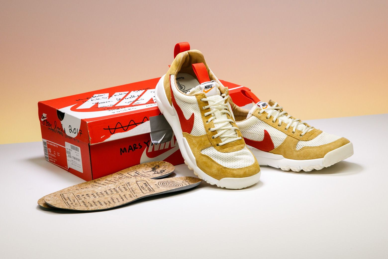The Tom Sachs x Nike Mars Yard 2.0 model comes with two different insoles  in mesh and cork. 8e9de04b36