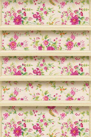 Floral IPhone IPod Wallpaper Shelf Design Vintage