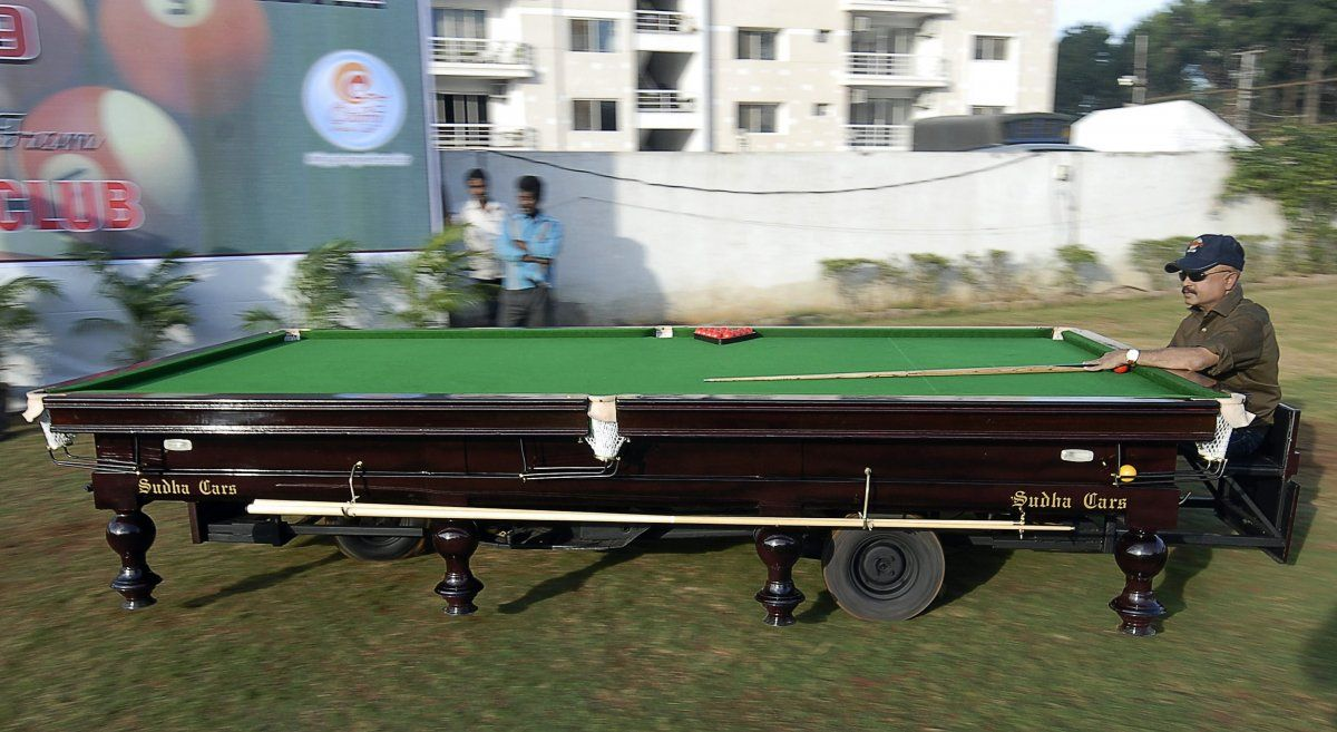 This insane pool table car has 3 wheels and can travel at up to 28 miles per hour. REUTERS/Krishnendu Halder