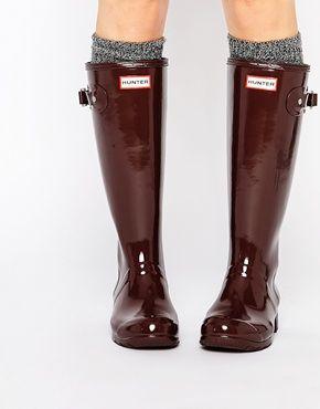 Hunter List Original Boots Wellington Christmas Umber Gloss Tour 7Bwr7