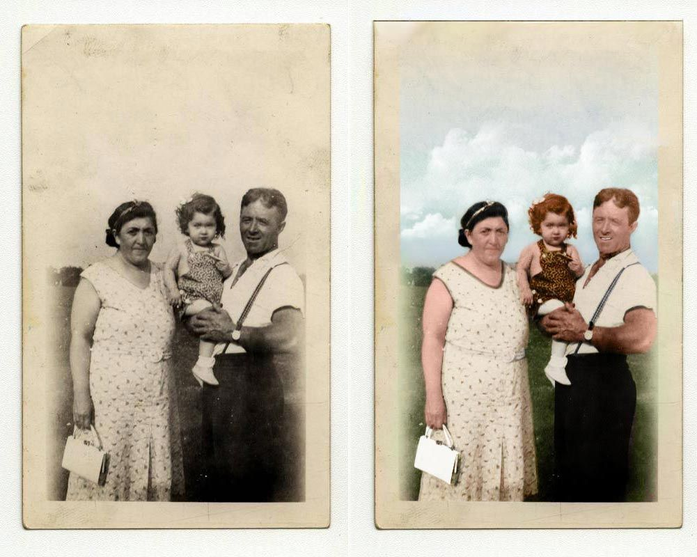 The Before and After. Colorizing an old photo from 1935