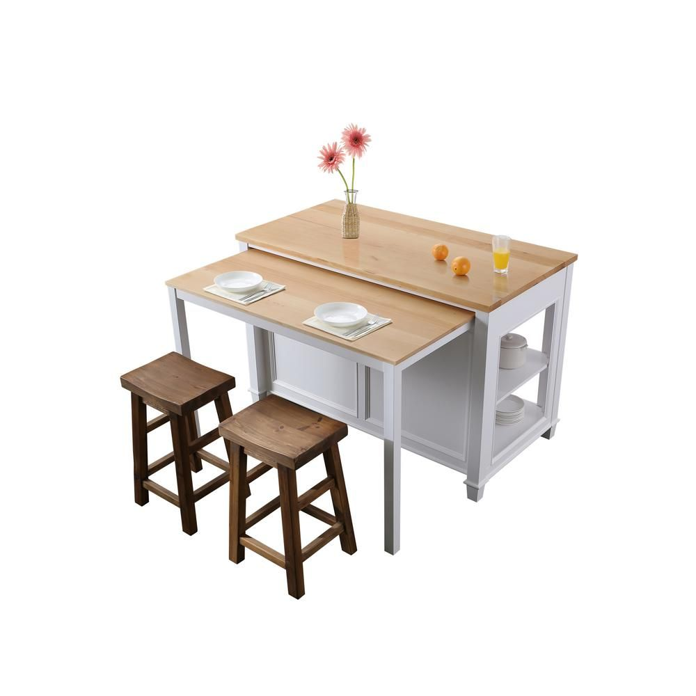 Design Element Medley White Kitchen Island With Slide Out Table Kd 01 W The Home De In 2021 Freestanding Kitchen Island White Kitchen Island Kitchen Furniture Design