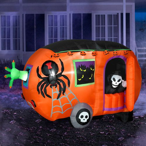Inflatable Halloween Cart - with skeletons and spiders - Inflatable Halloween Cart - With Skeletons And Spiders