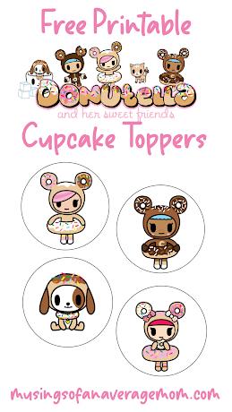 Tokidoki Unicorno /& Donutella Cupcake Topper  Thank You Tag  Party Circle *DIGITAL*