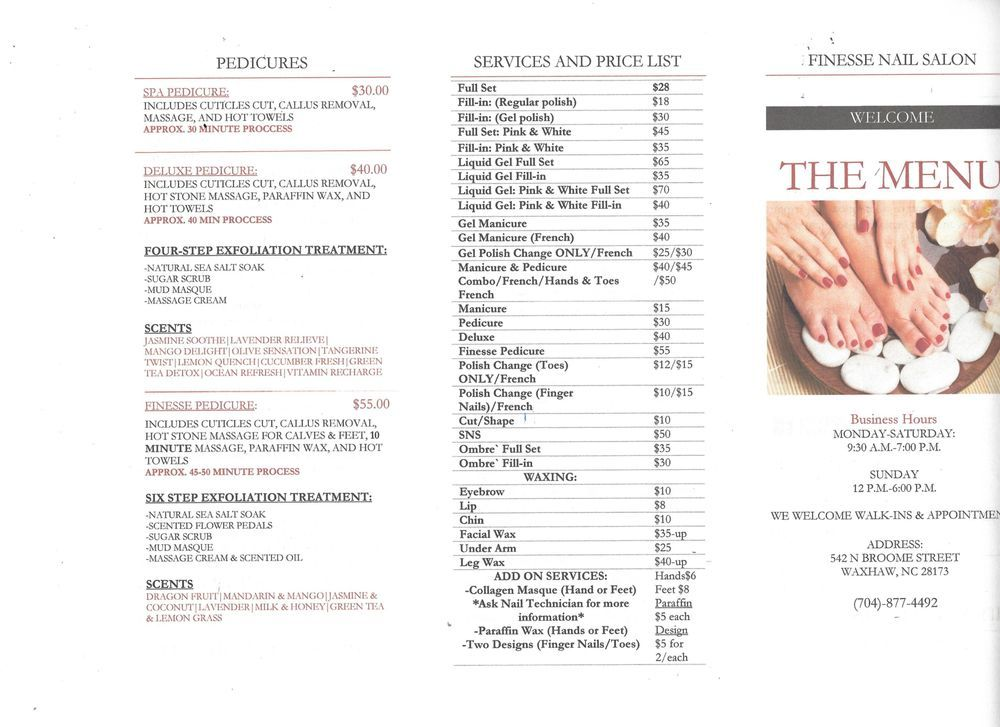 Photo Of Finesse Nails Waxhaw Nc United States Price List Services Nail Salon Prices Finesse Sephora Nails