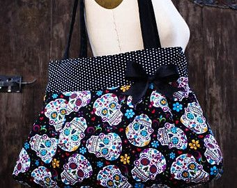 Large Black Polka Dot Sugar Skull Purse Diaper Bag Rockabilly