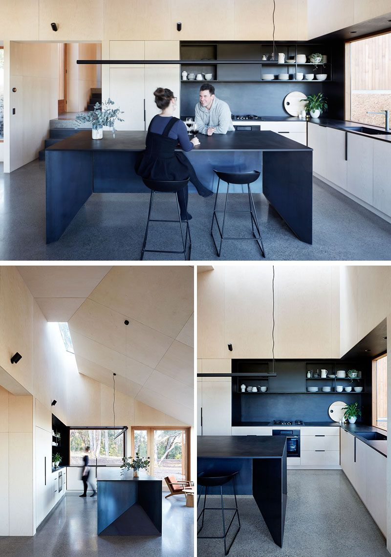 The two halves house by moloney architects plywood kitchen