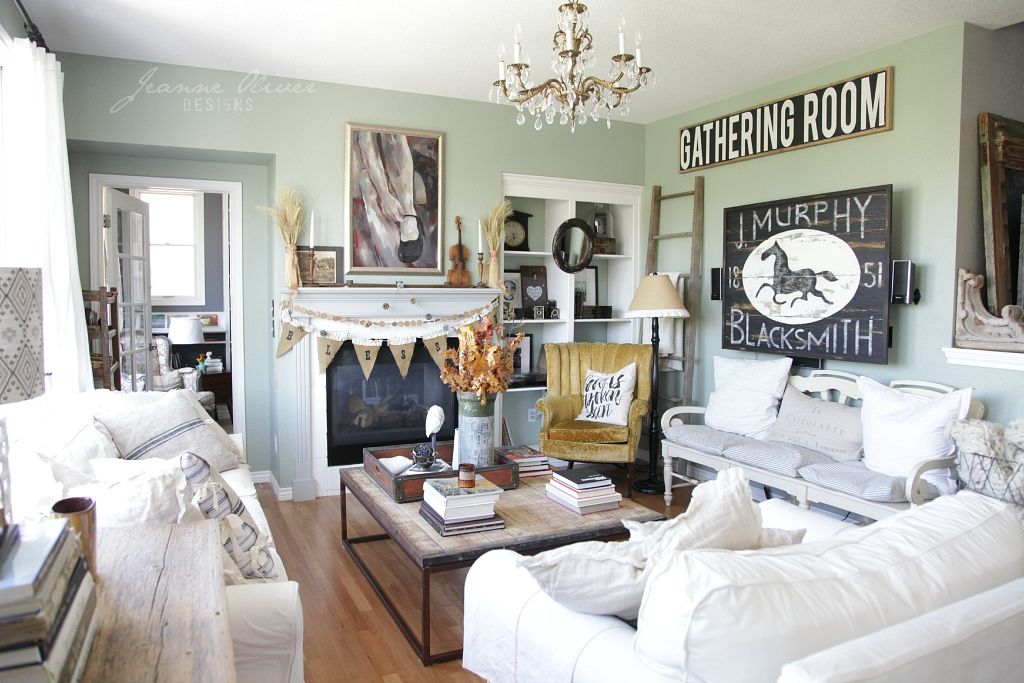 Finding Fall Home Tour With Better Homes And Gardens   Jeanne Oliver Living  Room Fireplace,