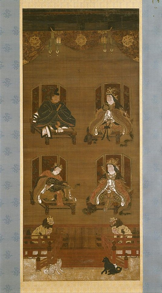 Mandala of the Four Deities of Mount Kôya. Nanbokucho period (1336-92). Hanging scroll, ink, colour and gold on silk. Date: 14th century  Accession Number: 1994.30