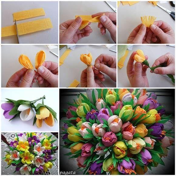 DIY schöner Strauß jener Krepp-Papierkrokusse 3  The post DIY Schöner Blumens…